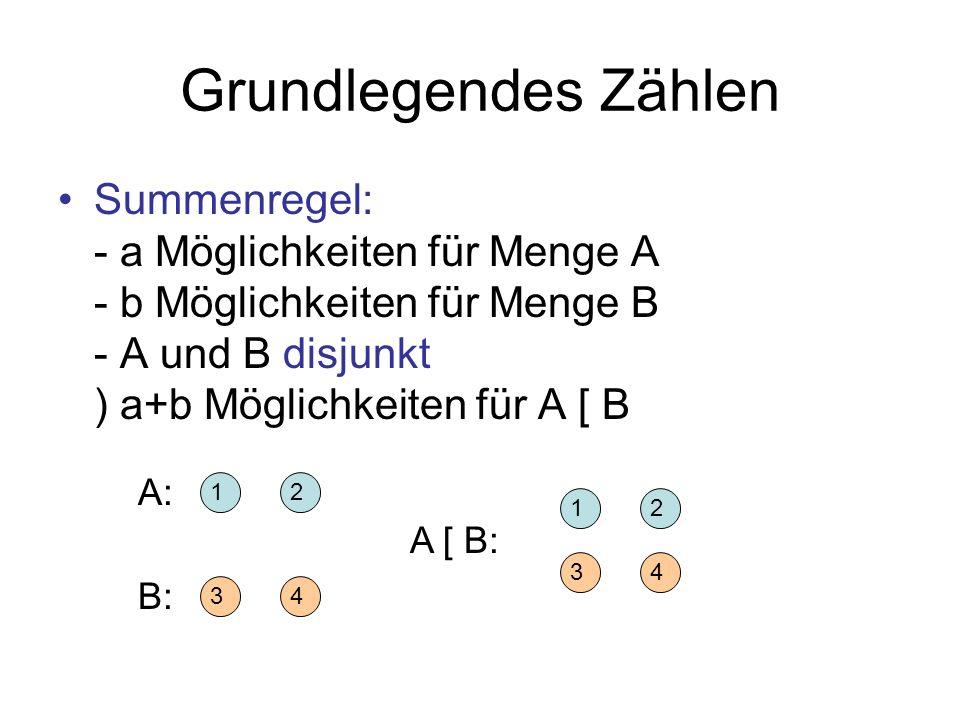 Grundlegendes ZählenSummenregel: - a Möglichkeiten für Menge A - b Möglichkeiten für Menge B - A und B disjunkt ) a+b Möglichkeiten für A [ B.